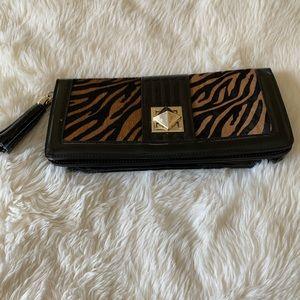 Patent leather black clutch /faux animal print